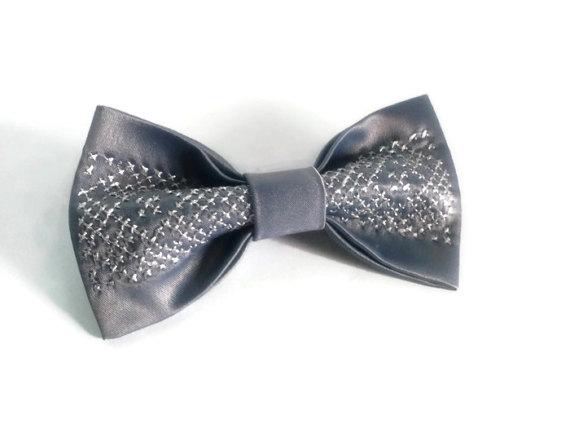 Wedding - Silver wedding silver bow tie metallic bow tie silver gray wedding gray satin tie sparkly bow tie party bow tie pre tied bow tie EMBROIDERED