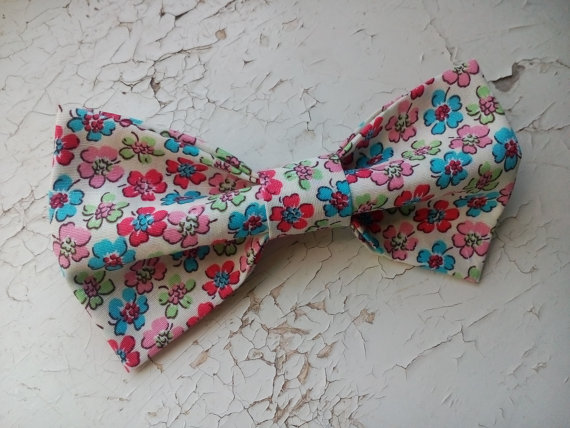 Wedding - Ivory floral bow tie self tie wedding bowtie pink blue blossoms pattern groom's bowties groomsmen wedding party father of the bride tie hjif
