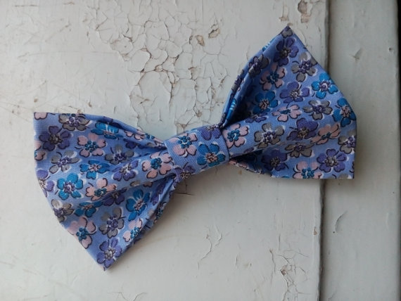 Mariage - lavender bow tie floral print pattern men's bowtie wedding floral ties for groom's necktie men's gifts for husband bowtie for boyfriend bjio
