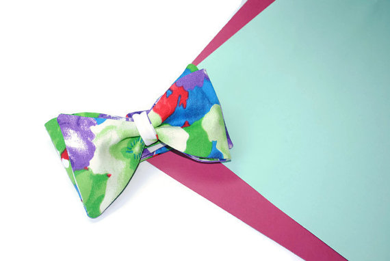 Wedding - Men's gift ideas Gift ideas for men Violet green floral bow tie Anniversary gifts for husband Gift husband from wife Wife husband gift Mens