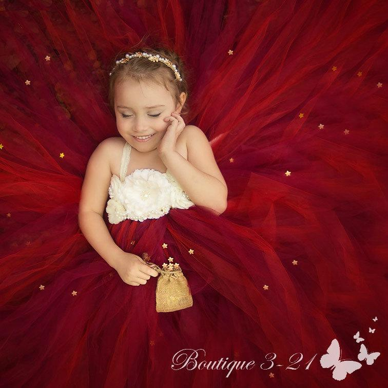 Wedding - Cranberry Flower Girl Dress, Cranberry Tutu Dress, Wine Flower Girl Dress, Wine Tutu Dress, Red Flower Girl Dress, Red Tutu Dress,