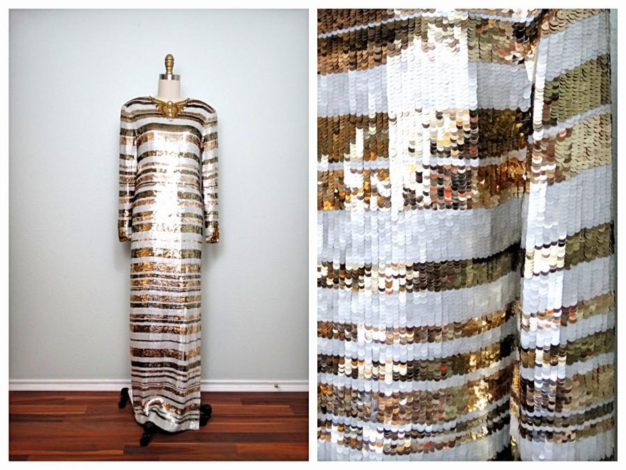 Wedding - Fully Sequined Beaded Dress / White and Gold Beaded Sequin Gown / Heavily Embellished Wedding Gown