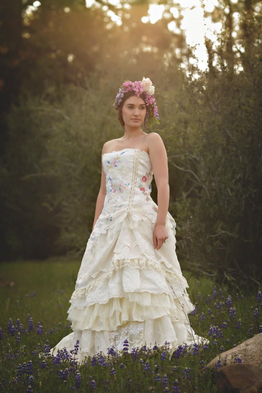 Wildflower Wedding Gown,Bohemian Wedding Dress, Embroidered Corset ...