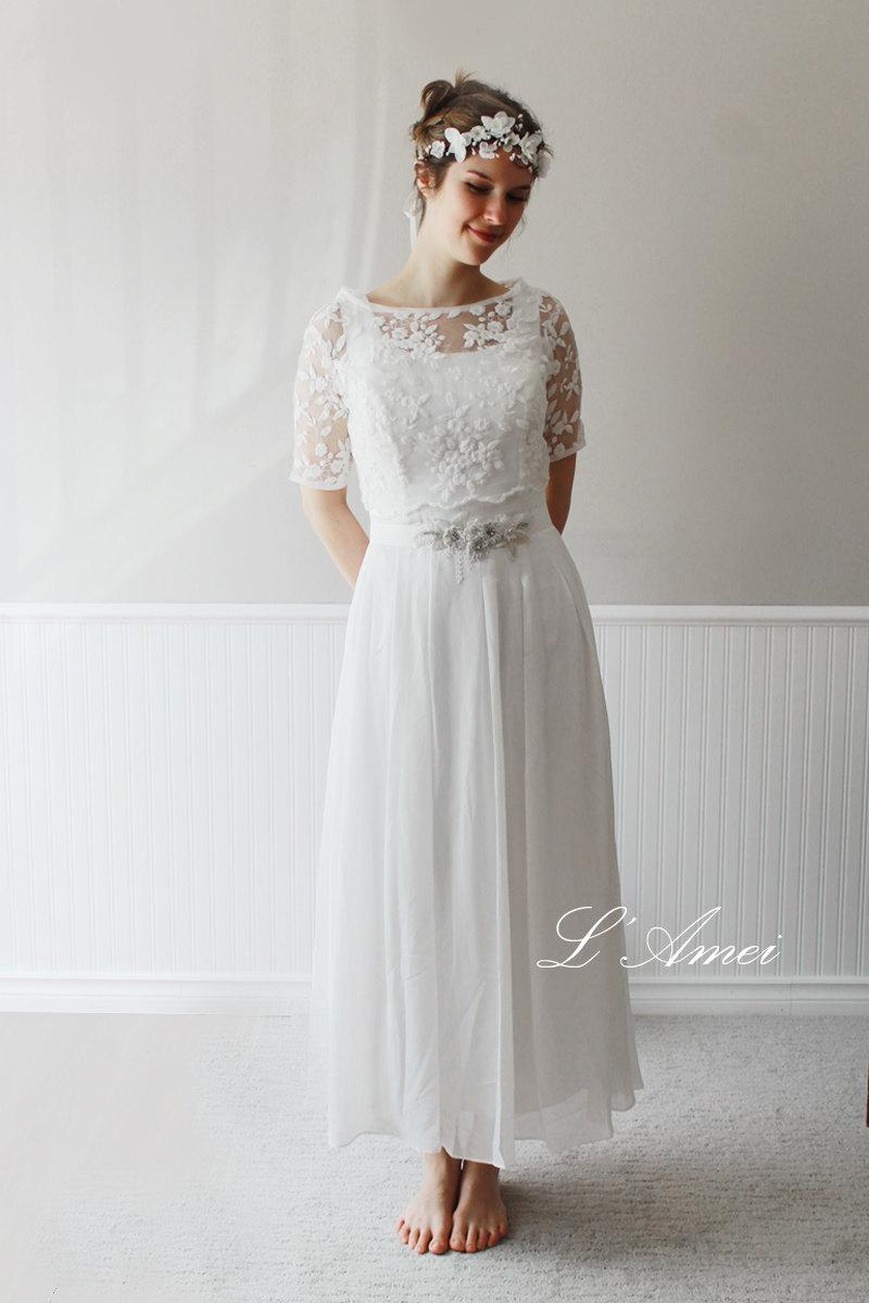 Wedding - Exquisite1970's Paris Inspired Ivory White Vintage-Style Wedding Dress with Short-Sleeved Embroidered Lace Bolero