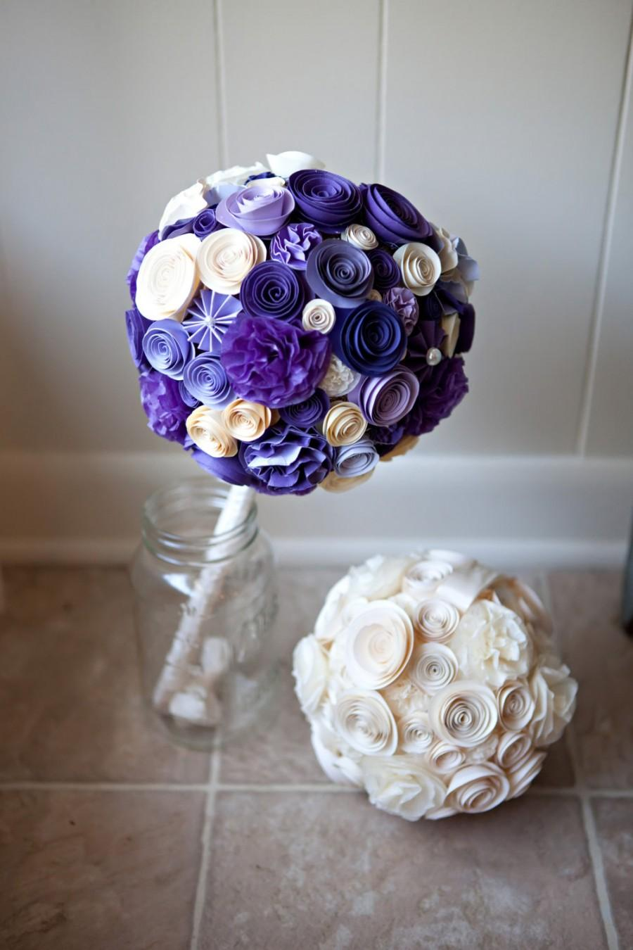 Mariage - Tissue / Paper Wedding Pomander - 7 Inches - Paper Bouquet - Bridal Arrangement