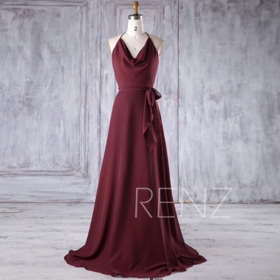 Wedding - 2017 Wine Chiffon Bridesmaid Dress, Spaghetti Straps Halter Wedding Dress, A Line Prom Dress with Belt, Formal Dress Floor Length (H385)