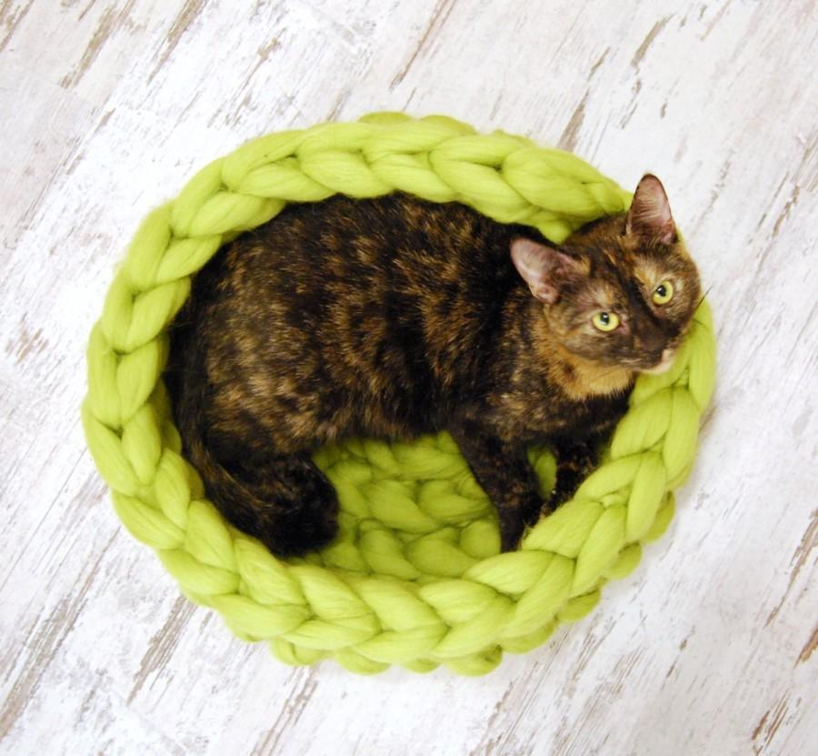 Boda - Chunky cat bed, merino wool, Cat cave, 100% wool, Cat house, Cat furniture, Knitted pet bed, Pet accessories, Cat nest, Chunky wool cat bed