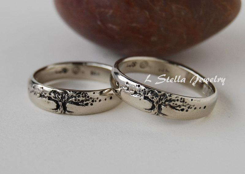 Свадьба - Tree of life Wedding Band Set 14K 5.5mm WIDE yellow gold, rose or white His-hers//unisex