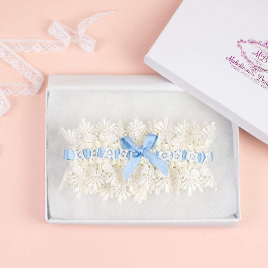 Свадьба - Bridal Garter - Vintage 'Blue Ice' Bridal Garter - Something Blue Garter Set