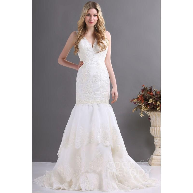 Mariage - Impressive Trumpet-Mermaid V-Neck Court Train Lace Fit and Flare Wedding Dress CWZT13036 - Top Designer Wedding Online-Shop