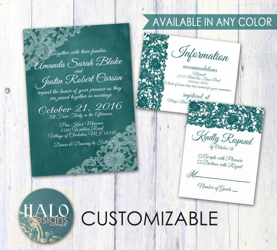 Mariage - Lace Wedding Invitations - ANY COLOR