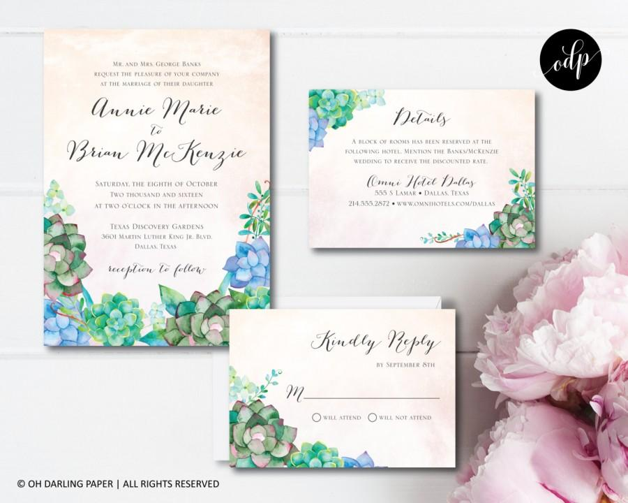 Mariage - Printable Wedding Invitation, Succulent Invitation, Watercolor Succulent, Watercolor Invitation, Succulent Wedding, Invitation PDF