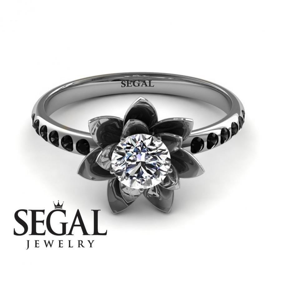 زفاف - Unique Engagement Ring Diamond ring 14K White Gold Flower White diamond With Black Diamond - Lotus Engagement Ring