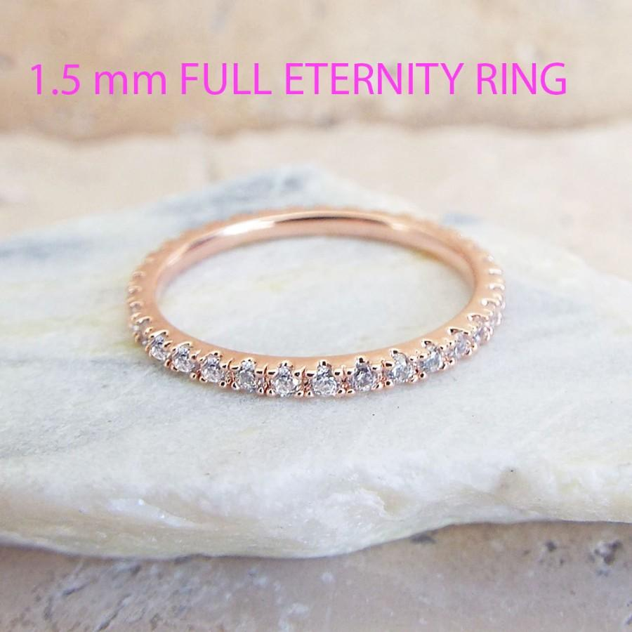 CZ Rose Gold Eternity Ring 1.5 Mm Thin Wedding Band Micro Pave High ...