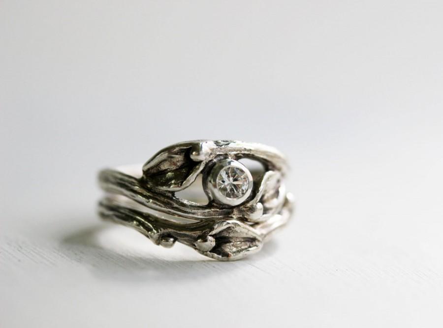 زفاف - White Sapphire Engagement Rings, Leaf Ring, Silver Twig Rings