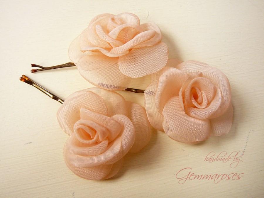 Mariage - Peach Mini Roses - Handmade Bridal Wedding Hair Pin or Bobby Pin - set of 3