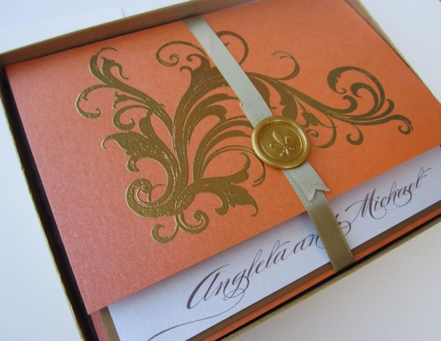Wedding - Tangerine Vintage Wedding Invitation -Boxed  Marie Antoinette inspired -Regal -  SAMPLE