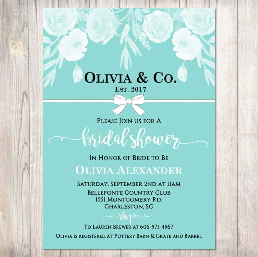 Hochzeit - Tiffany's Bridal Shower Invitation - Tiffanys Floral Bridal Shower, Tiffany Bow, 3 Options