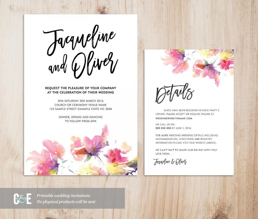 Multicolour Watercolor Wedding Invitation Details Card Set (PDF ...
