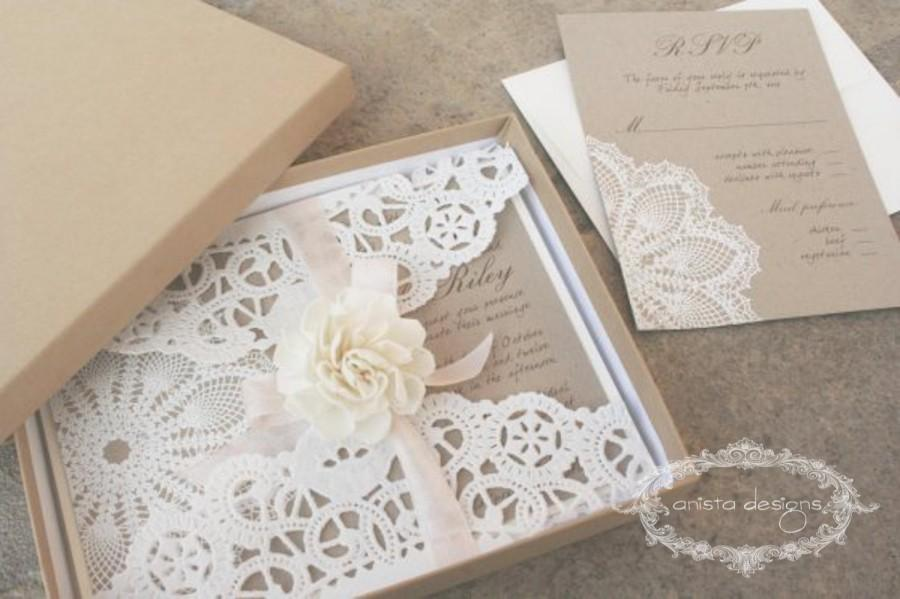 Hochzeit - SALE:  vintage wedding invitation - Lace doily - featured in VOGUE UK  - Lillian Collection-  Sample