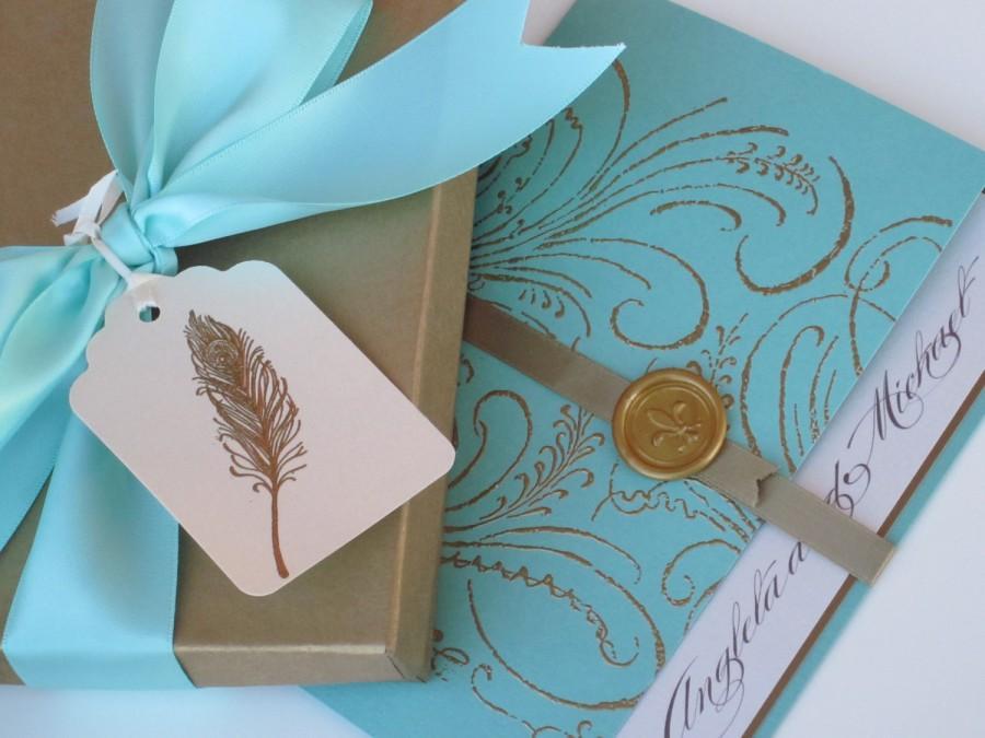 Hochzeit - Boxed Luxury Wedding Invitation - Marie Antoinette inspired -Regal -  SAMPLE