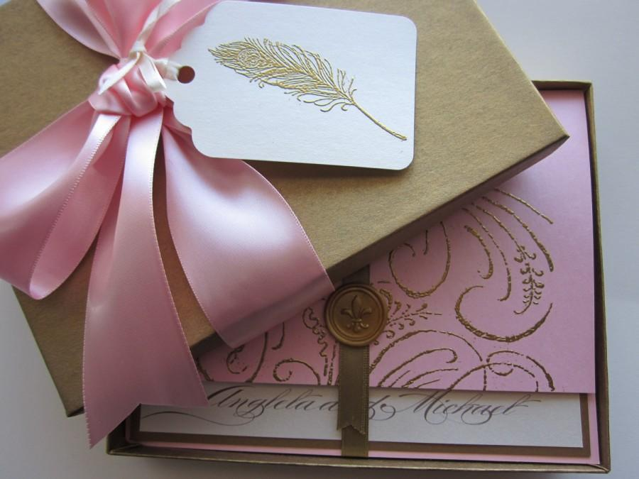 Hochzeit - Boxed Wedding Invitation - pink - Marie Antoinette inspired -Regal -Angela Collection -  SAMPLE