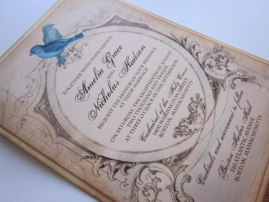 Hochzeit - Love Birds Vintage Wedding Invitation/RSVP- Sample - Amelia Collection