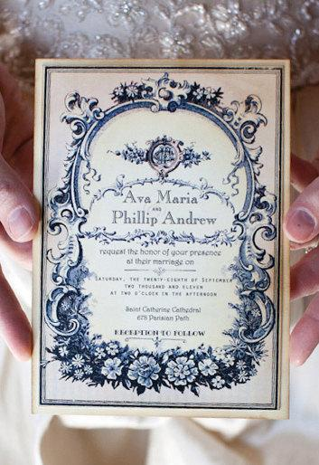 Hochzeit - Vintage Wedding Invitation Sample -  Parisian Perfume Label - Ava Collection -choice of colour - featured on WedLuxe.com