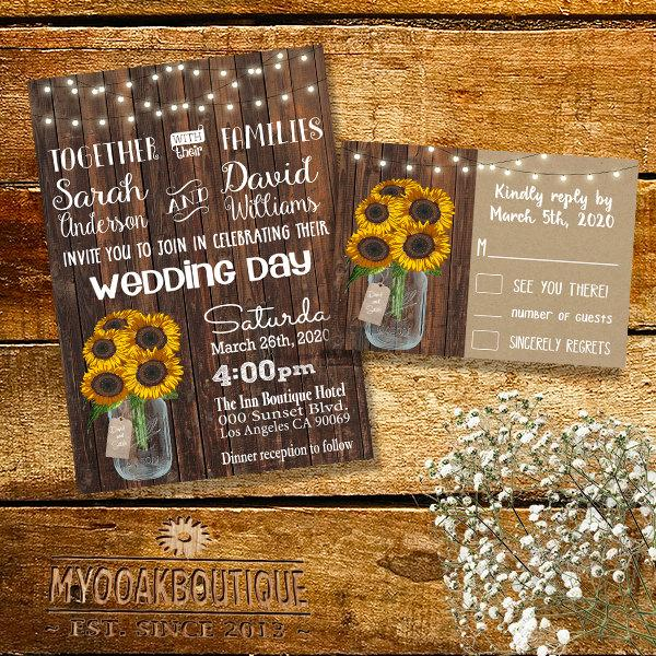 Hochzeit - Country Wedding invitation Rustic chic mason jar wood sunflowers flowers digital printable Suite Invitation RSVP you print 14040