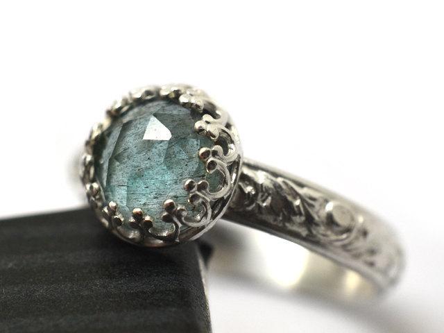 Hochzeit - Moss Aquamarine Ring, Crown Bezel Set Natural Rose Cut Beryl Gemstone Engagement Ring, Sterling Silver Floral Renaissance Style Band