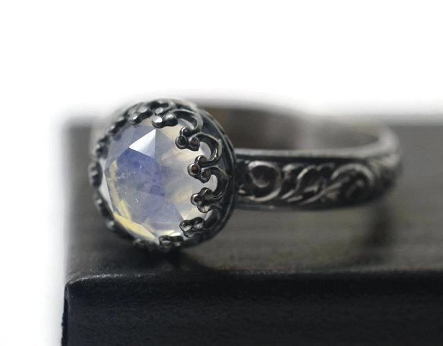 Wedding - Rainbow Moonstone Engagement Ring, Rose Cut Rainbow Gemstone Jewelry, Oxidized Silver Floral Womens Ring