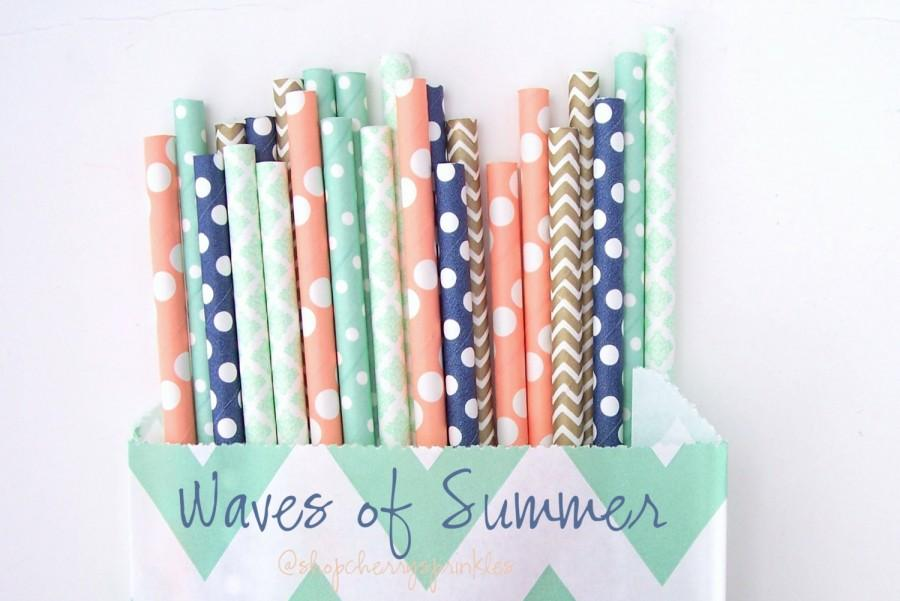 Mariage - WAVES of SUMMER -Coral paper straws, Navy Straws, Gold Straws, Mint Straws  Polkadot, Damask, Beach theme party Straws -Wedding, Birthday