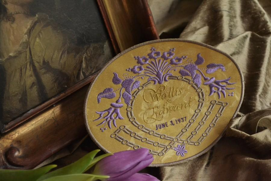 Свадьба - Custom Embroidered Wedding Dress Label French Silk Damask DOWNTON ABBEY COLLECTION - Antique Gold - French Lavender - Metallic Gold