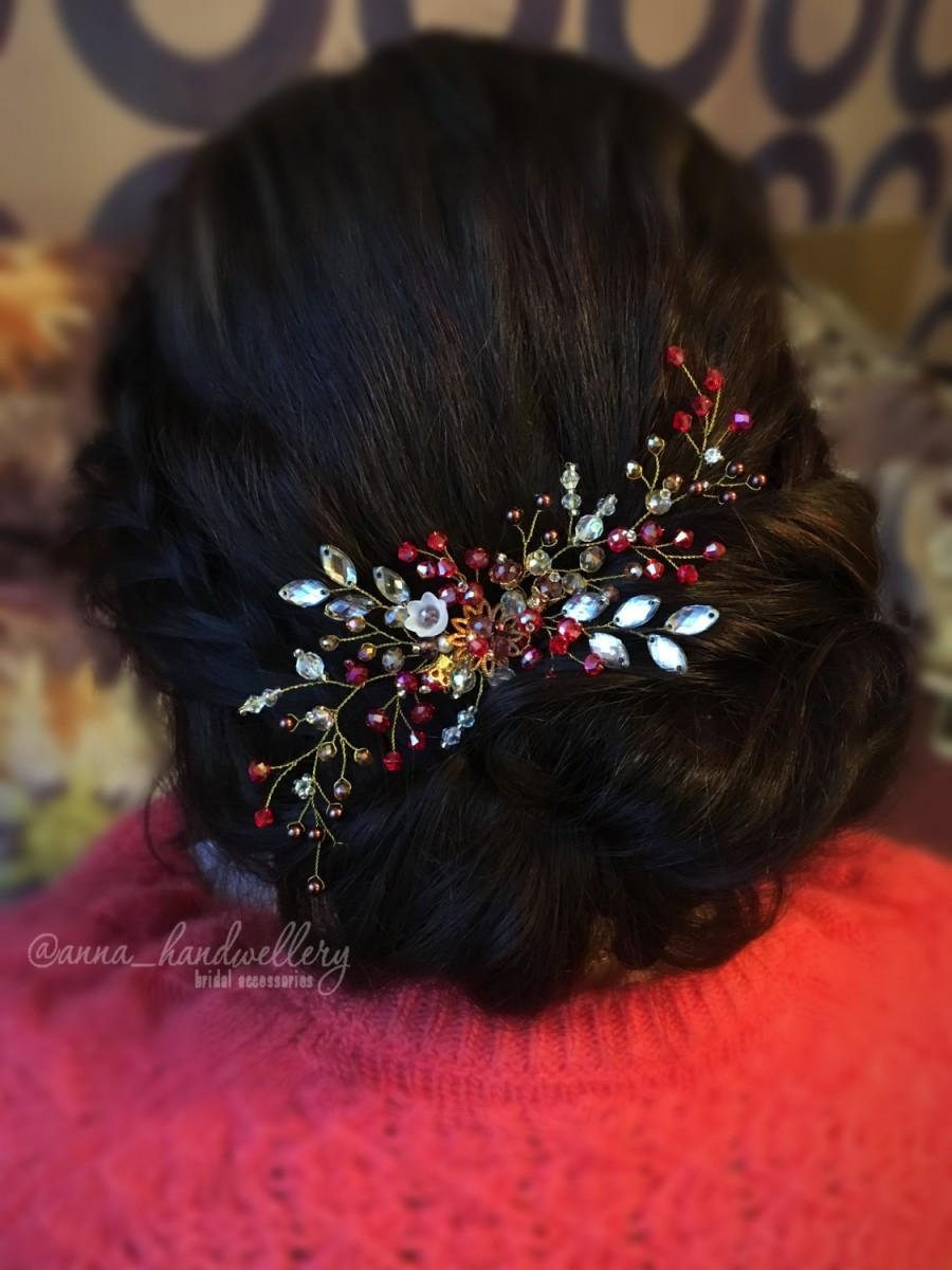 زفاف - Red Swarovski Bridal Headpiece Hair Comb, Prom Wedding Hair Accessory, Rhinestone , Wedding Hairpiece, Bohemian headpiece, Gold, Crystals