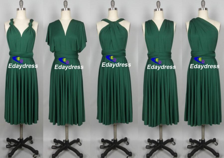 Mariage - Ever Green Short Straight Hem Bridesmaid Dress Infinity Dress Multiway Dress Wrap Dress Wedding Party Cocktail Dance Twist Dress