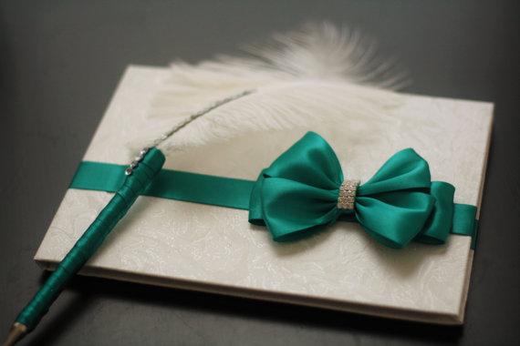 زفاف - Wedding Guest Book Emerald   Green Ring Bearer Pillow, Flower girl Basket, Green Wedding Pillow  Green Wedding Basket  Cake Serving Set