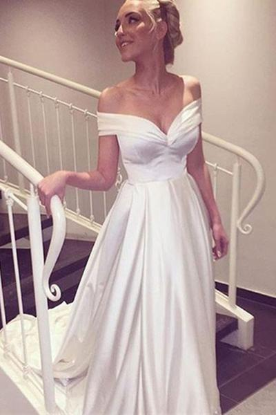 Mariage - Sweetheart Off The Shoulder White Long Wedding Dress With Train WD008