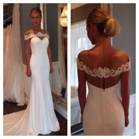زفاف - Eleagnt Simple Cheap Mermaid White Long Wedding Dresses, BG51508 - US0 / Picture Color