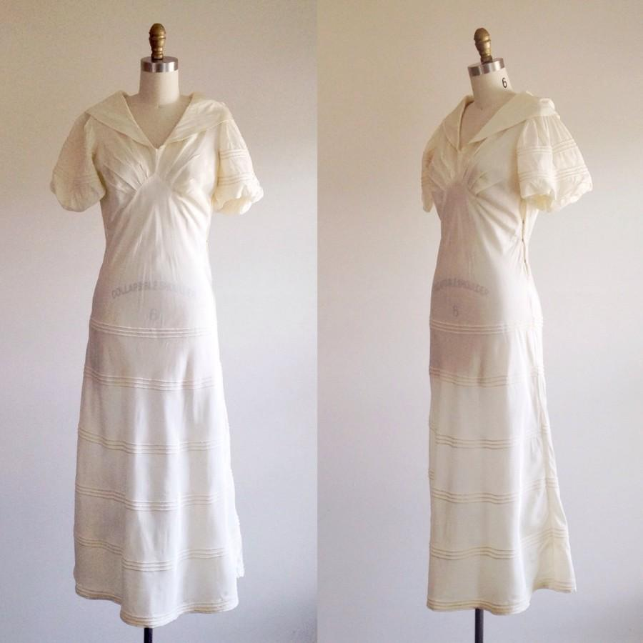Mariage - Simple wedding dress- Ivory wedding dress-1930s wedding dress-Vintage bridal-Large collar dress-30s bridal- A-line dress- Small/ Extra Small
