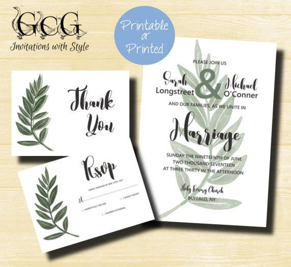 Thank You Letter For Wedding Invitation: Printable Greenery Wedding Invitation Set, Green