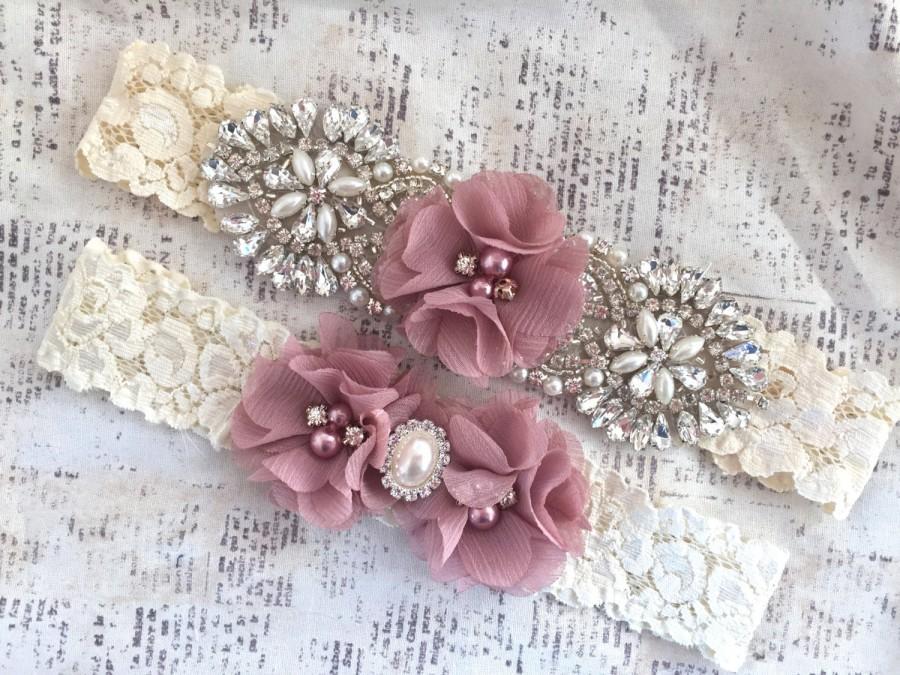Hochzeit - Bridal Garter Vintage, Lace Garter Set, Ivory Lace Garter, Lace Garters, Vintage Garters, Dusty Rose Garters, Blush Garters, Bridal Garter