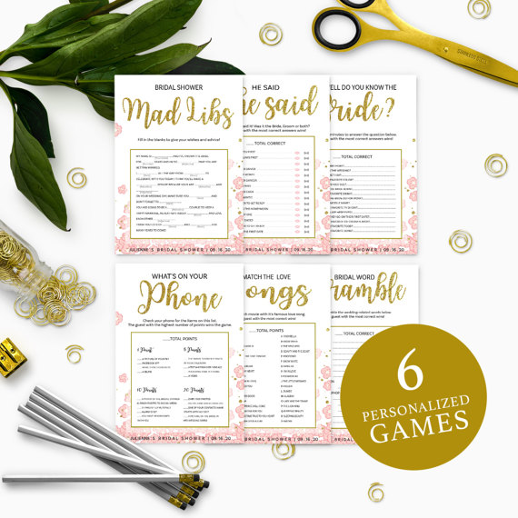 Mariage - Pink and Gold Bridal Shower Games Package-Bundle 6 DIY Personalized Printable Bridal Shower Games-Golden Glitter Floral Bridal Shower Games