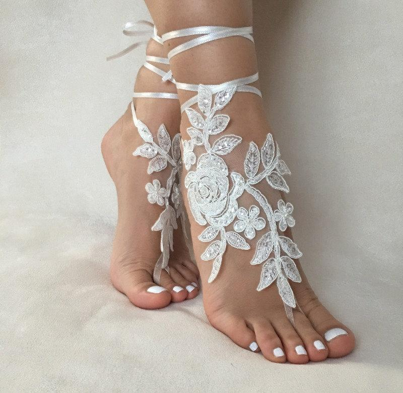 Free Ship Ivory Foot Jewelry Lace Sandals Beach Wedding Barefoot