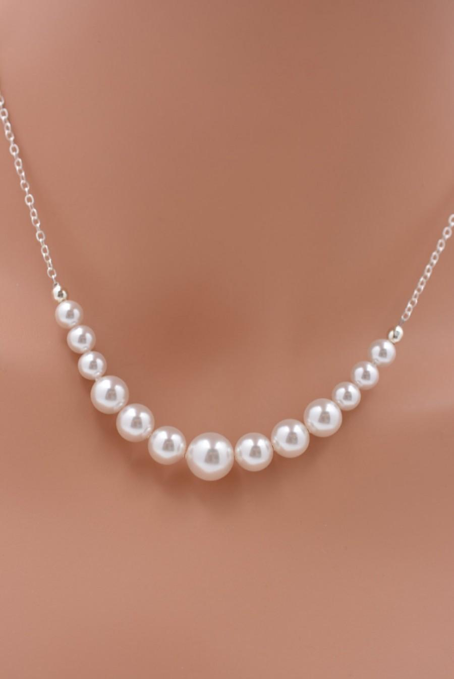 Mariage - Bridal Pearl Backdrop Necklace, Pearl Strand Necklace, Pearl Bridal Necklace, Wedding Necklace - Real Sterling Silver Necklace 0237