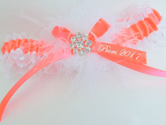 Wedding - Neon Coral Prom Garter,  Polka Dot Prom Garter,  Prom Garter, Garter