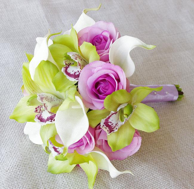 Свадьба - Silk Wedding Bouquet of Orchids and Callas- Off White, Green and Lilac Natural Touch Calla Lilies, Roses and Orchids Silk Bridal Bouquet