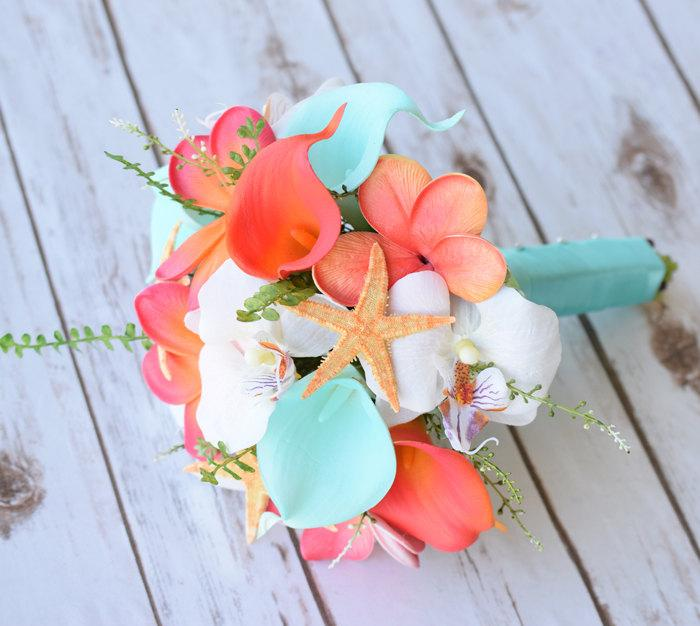 Mariage - Wedding Coral Orange and Aqua Turquoise Natural Touch Orchids, Callas and Plumerias Starfish Silk Flower Medium Bride Bouquet