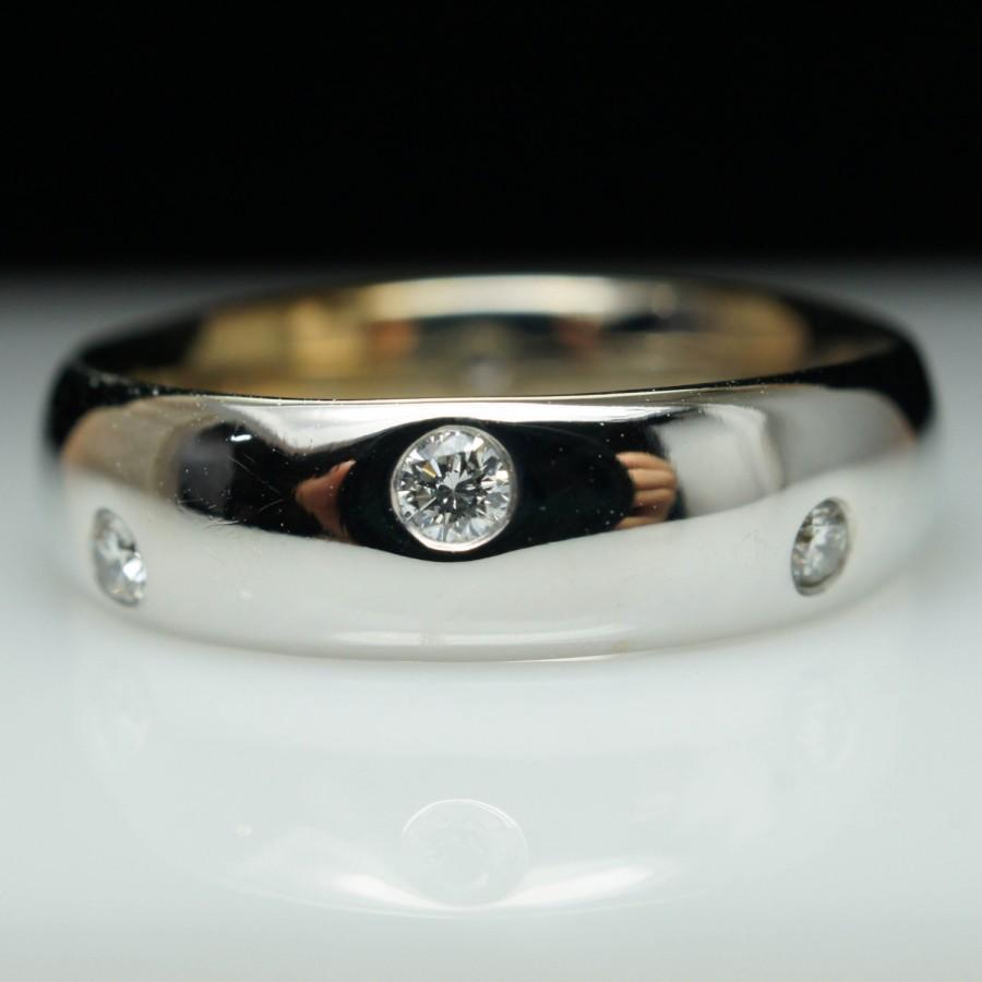 Mariage - Diamond Wedding Band Dotted Anniversary Band 14k White Gold Diamond Jewelry Engagement Ring Bridal Band Wedding Ring
