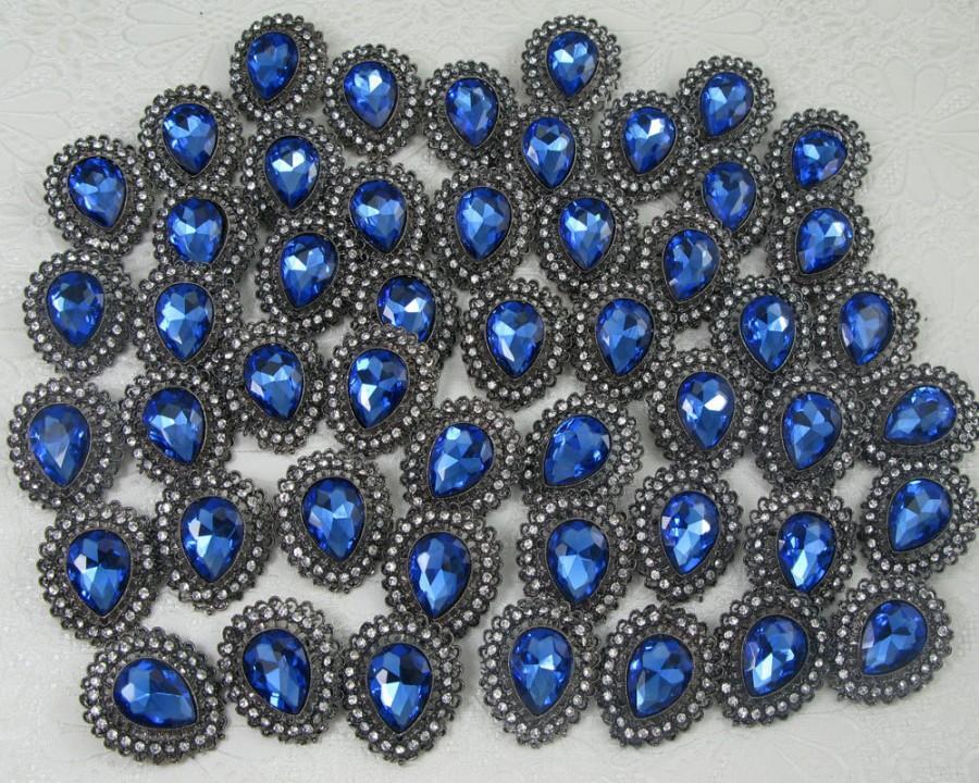 Hochzeit - 50x Wholesale Brooch BLUE Crystal Rhinestone Brooch,Wedding Bouquet Brooch,Wedding Invitation Supplies Embellishment Bridesmaid Favor Decor