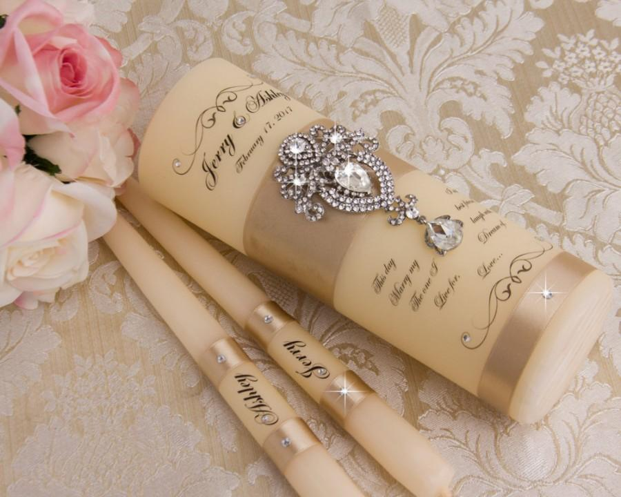 Mariage - Champagne Unity Candles, Personalized Wedding Unity Candles Ceremony Crystal Unity Candles Set, Champagne Weding Candles Set, Custom color